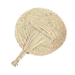 Hand-woven Round Cattail Leaf Fan Chinese Style Handmade Braided Palm-leaf Summer Handheld Fan