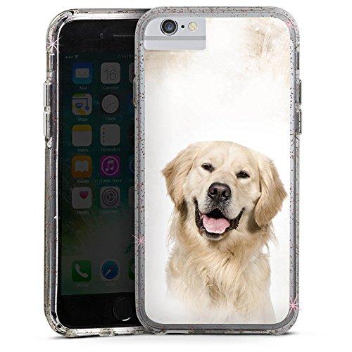 Apple iPhone 8 Bumper Hülle Bumper Case Glitzer Hülle Golden Retriever Hund Dog Bumper Case Glitzer rose gold