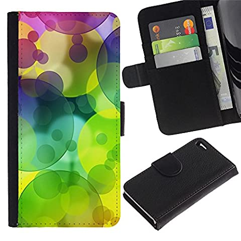 Apple iPhone 4 / iPhone 4S Credit Card Slots PU Wallet Pouch Housse de protection Skin Cas Case Coque - Colors Circle Pattern Lime Green