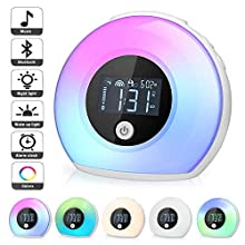 Wake Up Light Alarm Clock, Kimfoxes Bluetooth Speaker Table Lamp Kids Alarm Clock for Bedroom, Tap/Knock to Change Color Lights, Night Light Music Player for Party, Camping, Christmas Gift