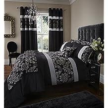 Colcha para cama individual Glamour Catherine Lansfield Jacquard, negro