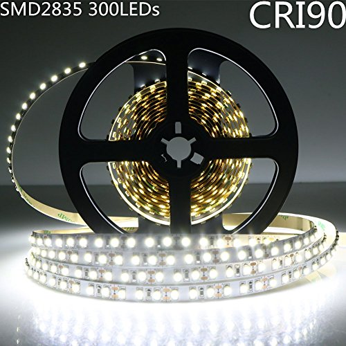 LightingWill LED Rope Lights CRI90 SMD2835 16.4Ft(5M) 300LEDs Nature White 4000K-4500K 60LEDs/M DC12V 60W 12W/M 8mm White PCB Flexible Ribbon Strip with Adhesive Tape Non-Waterproof H2835NW300N