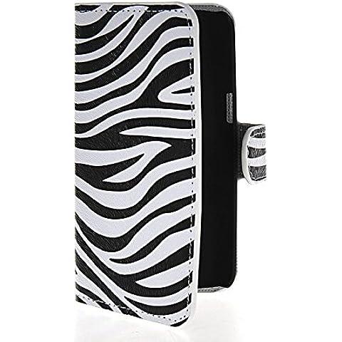 MOONCASE Zebra Custodia in pelle Protettiva Cuoio Portafoglio Flip Cover per Samsung Galaxy Express 2 II G3815