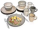 Bluespoon Kombiservice Manhattan aus Porzellan 16 teilig | Tellerset für 4 Personen | Schüsseln 300 ml | Becher 500 ml | Stilvolles Geschirrservice für den modernen Haushalt