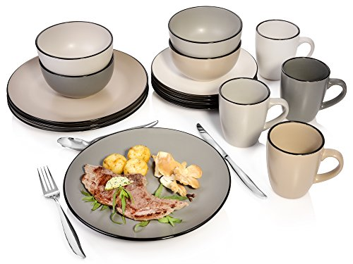 ... Manhattan Aus Porzellan 16 Teilig | Tellerset Für 4 Personen |  Schüsseln 300 Ml | Becher 500 Ml | Stilvolles Geschirrservice Für Den Modernen  Haushalt