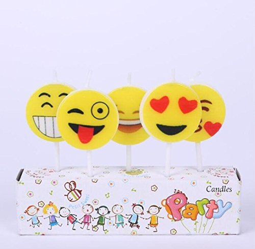 Partysanthe Happy Birthday Yellow Color Candle with Smiley Cake Topper (5pcs/pack)