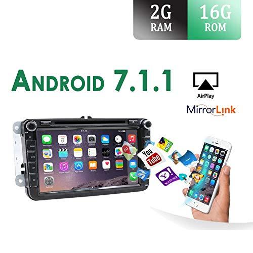 4-Core Android 7.1 2-DIN 8 'procesador de modelo de coche GPS Navegación Reproductor de DVD para Volkswagen VW/Skoda/Polo/ Passat / B6 / CC / Tiguan / Golf / Fabia / enlace con soporte Enlace espejo/OBD2/Bass/Bluetooth/DAB/TPMS/TV/FM/AM/USB