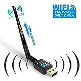 Gintenco Wireless WLAN Stick, Wifi USB Adapter, 600Mbit/s Dual Band (2.4G/150Mbps+5G/433Mbps) 802.11 N/g/b/a/AC Wifi Dongle with Antenna für Windows 10/8.1/8/7/XP/Vista (32/64bits), Mac OS,Blau