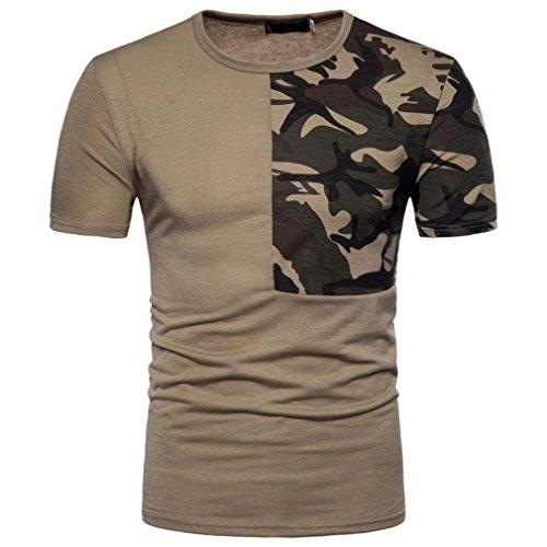 T-shirt Homme GongzhuMM Camouflage 2018 Nouveau Camouflage Chemise à Manches Courtes Homme Shirt de Sport Imprimé Camouflage Patchwork (L, Kaki)