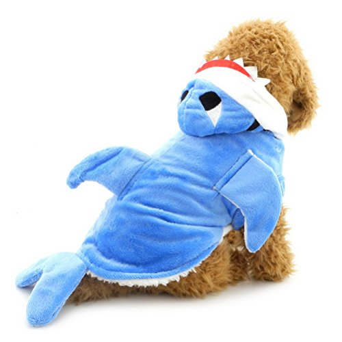 zunea Shark Kleine Hunde Kostüm Halloween Pet Puppy Samt Fell Jacke Kapuzen Jacke Hooded Winter Warm Kleidung - Lab Puppy Kostüm