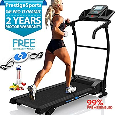 XMPRO Dynamic TREADMILL - NEW 2018 Model Motorised Running Machine, Lightweight, Powerful Motor 1.5CHP 1100W, 14KPH Speed, 3 Level Manual Incline, 16 Auto + 1 Manual Program, Speakers, Pulse by Prestige Sports