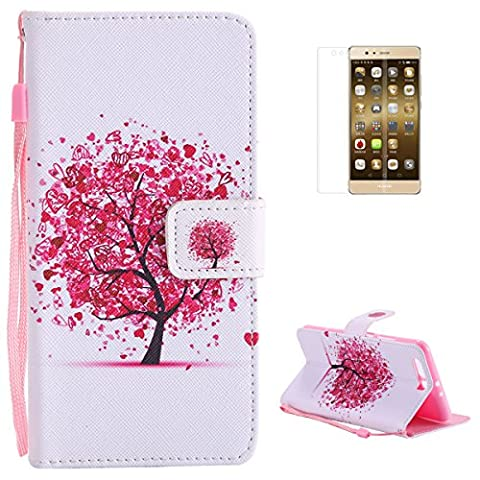 Huawei P10 Plus Premium Flip Leather Case,[with Free Screen Protector] KaseHom Magnetic Closure Wallet Type Elegant Cherry Blossoms Tree Unique Pattern Design with [Card Slots][Anti-Scratch Bumper] Multi-function Protective Cover Holster for Huawei P10 Plus