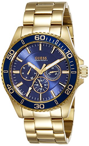 Guess (GVSS5) Men's Quartz Watch with Blue Dial Analogue Display and Gold Stainless Steel Bracelet W0172G5