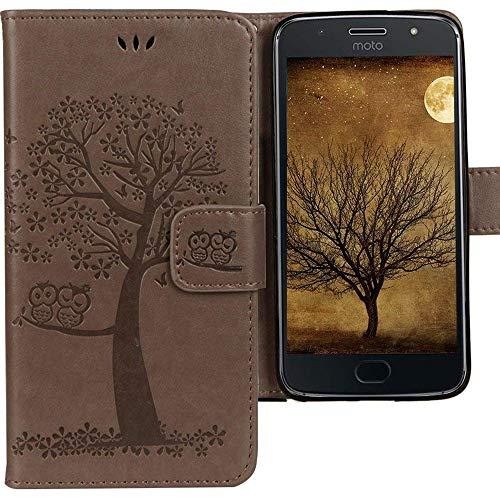 CLM-Tech kompatibel mit Motorola Moto G5S Hülle, Tasche aus Kunstleder, Leder-Tasche Lederhülle, Baum Eule grau