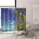 XHCP Polyester 3D Visuell Blau Sandstrand Landschaftsdruck Schimmelresistent Wasserdicht Duschvorhänge Verdickte Badewanne Abgeschnitten Hängender Vorhang, 5, 180 * 180 cm