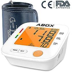 """ABOX Tensiómetro de Brazo Digital, memoria (2 * 90), 22-42 cm largo manguito y 3,2"""" pantalla grande, con Detección del pulso arrítmico, cargar de dos formas Certifica FDA CE, Regalo a los padres"""