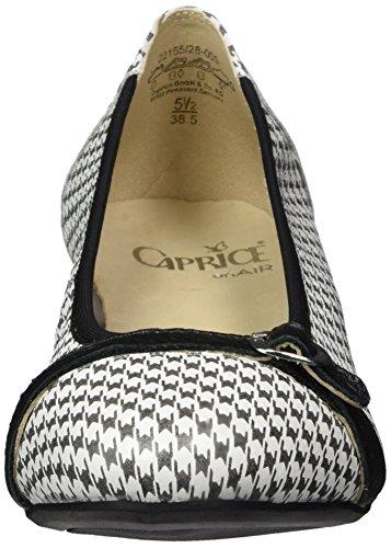 Caprice 22155, Ballerine Donna Nero (Blk/wht Deer M)