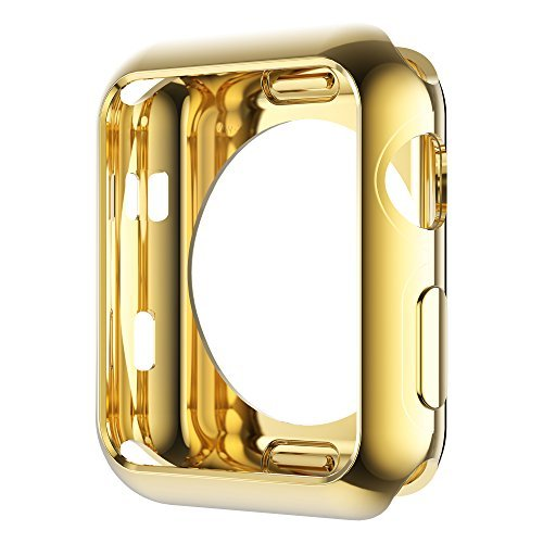 Leotop Compatible with Apple Watch Case 44mm 40mm, Soft Flexible TPU Plated Protector Bumper Shiny Cover Lightweight Thin Guard Shockproof Frame Compatible for iWatch Series 4 (1-Gold, 44mm)