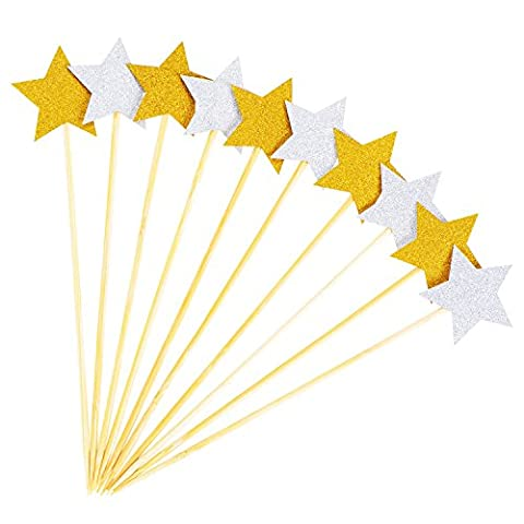 Outus Cupcake Topper Star Cake Toppers Cake Decoration for Birthday Ceremony Celebration, Gold and Silver Color, 30