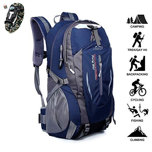 Odot 50L Zaino da Escursione Zaino da Viaggio Leggero e da Trekking Materiale è Impermeabile per Ciclismo da Viaggio/Arrampicata/Sportiva/da Campeggio All'Aperto Zaino (50L,Blu Navy)