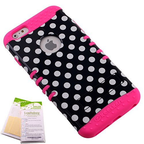For Apple iPhone 6 Plus (5.5) Black & White Polka Dots Snap-on on Fluorescent Hot Pink Skin KoolKase Rocker 2 in 1 Hybrid Case Cover With 2 Screen Protector Films  available at amazon for Rs.2849