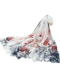 25e9e0567a6d LianMengMVP Femme Foulard 100% Soie Imprime Floral Coloré Grande Echarpe  Châle Ultra-Léger Respirant