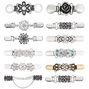 AKKi jewelry Damen Pullover-Clip Kragen Strick-Jacke Cardigan Schal blusen Clips Pullovers metallclips für brosche Nadel