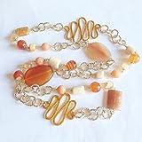 Collana lunga arancione oro con pietre dure e alluminio, maxi collana arancio pesca con catena in alluminio e pietre dure