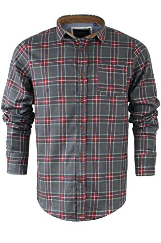 Brave Soul - Chemise casual - Avec col - Manches Longues - Homme Edvard | Mid Grey & Red