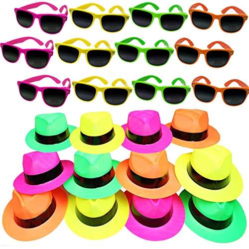 German Trendseller®- 6er Neon Party - Set ┃ 3 Neon Hüte + 3 Neon Sonnenbrille UV400 ┃ Karneval Fasching ┃ Party Knaller ┃ Kostüm ┃ Für 3 Personen