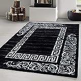 Teppich modern Designer Wohnzimmer Versace Muster Barock Motiv Schwarz Grau Weiß Oeko Tex Standarts, Maße:160x230 cm