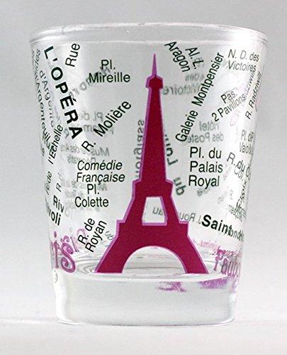 Paris Frankreich Eiffelturm und Karte pink Shot Glas (Eiffel Tower Glas-set)