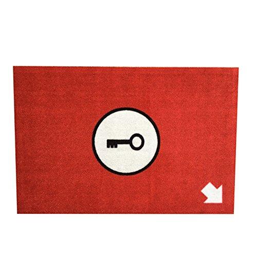 Design Fussmatte Schlüsselversteck für innen und außen, maschinenwaschbar, rutschfest. Witzig und cool in rot 60 cm x 40 cm
