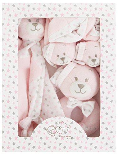 Baby Geschenkset Hase rosa in Box Schnuffeltuch Rassel Babyschuhe