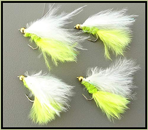 Arc fishing supplies Goldhead Damsel Kunstköder, Gelb/Weiß, 4 Stück Forellenfliegenfliegen Hakengröße 12