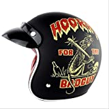 Shfmx Vintage Harley Open Face Halbhelm, Jet Helm D.O.T Certified Motorcycle Scooter Helm Pilot Motorcycle Helm, Four Seasons, Suitable for Men and Women,S