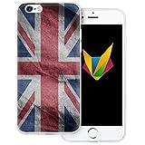 dessana England transparente Silikon TPU Schutzhülle 0,7mm dünne Handy Soft Case für Apple iPhone 6/6S Plus England Fahne