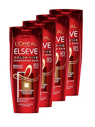 L'Oréal Paris Elsève Color-Vive Shampooing Soin 250 ml - Lot de 4