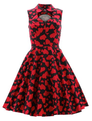H r & rouge motif london robe longue 6904 robe Noir - Noir