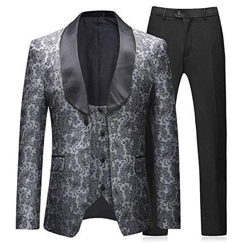 Boyland Herren 3 Stück Smokings Vintage-Bräutigame Anzug komplette Outfits Prom Formal Smoking Anzug XX-Large Grau -