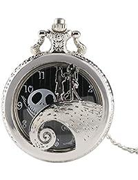 The Nightmare Before Christmas Reloj de Bolsillo de Plata, Antqiue Reloj de Bolsillo de Cuarzo Tallado, el Regalo para Hombres TimButton la Pesadilla Antes de Navidad