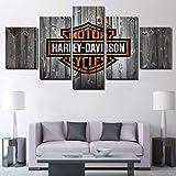 BOYH Salon Images murales Imprimé en HD Décoration de Maison 5 Panneaux Impressions sur Toile Affiche modulaire de Moto Harley Davidson,B,10×15×2+10×20×2+10×25×1