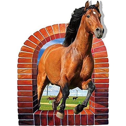 Winhappyhome 3D realistas del caballo etiquetas engomadas del arte de la pared por Habitación Sala de TV Cafetería Antecedentes de la decoración