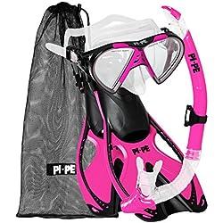 PI-PE Kit de plongée avec masque, tuba, palmes et sac filet pratique Masque de plongée antibuée en verre trempé Pour enfants et adultes S-M rose bonbon