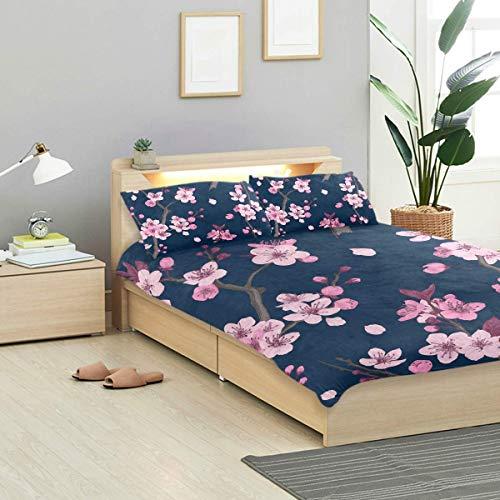 Soefipok Sakura Bettwäscheset Sakura Pattern Pink Cherry Blossom Design Bettwäschedekoration 3 PC Sets 1 Bettbezüge mit 2 Kissenbezügen Mikrofaser Bettwäscheset Schlafzimmer Dekor Accessor - Schlafzimmer Kollektion Von Cherry