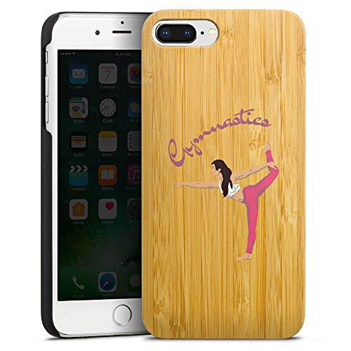 DeinDesign Holz Hülle kompatibel mit Apple iPhone 8 Plus Wooden Case Echtholz Handyhülle Gymnastic ohne Hintergrund Hobby