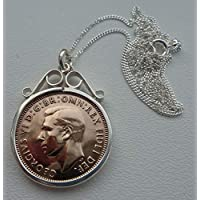 Beautiful Wren Farthing 1942 Genuine English Old Coin in 925 Silver Scroll Mount with Sterling Silver 18inch Diamond Cut Curb Chain Original 77th Birthday Gift for 77 Year Old Woman Or Man