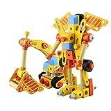 LHYP Hölzerne Schraub Nuss Setzt Baby-Pädagogisches Spielzeug, 3D-Puzzle-Roboter und Bauwagen, Bunte Manipulative Holz-Set-Spielzeug Holzperlen Spiel 100 Pcs