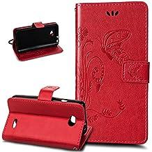LG L90Case, funda de piel para LG L90, LG L90Protectora, ikasus diseño Dream Catcher Feather Campanula plegable tipo cartera funda de piel–Funda de piel tipo cartera soporte Soportes de ID de tarjeta de crédito funda para LG L90 Big Butterfly: Red
