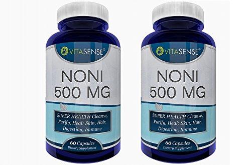 Doppel-Pack (Packung mit 2) VitaSense Noni 500 Mg - SUPERGESUNDHEIT Reinigt, läutert, Heilt: Haut, Haar, schützt Verdauungs,- und Immunsystem - 60 Kapseln by RIVENBERT